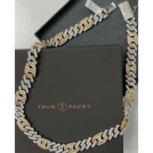 14K White/Yellow Gold Men's 33.17ct Diamond Necklace