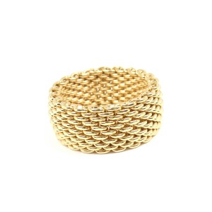 Tiffany & Co. 18K Yellow Gold Somerset Mesh Band Ring Size 7.5