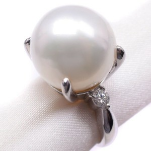 Platinum/Pearl diamond Ring NST-384