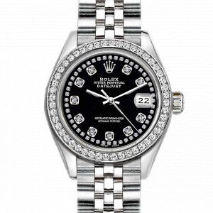 Rolex Datejust Stainless Steel with Black Dial 26mm Womens Watch