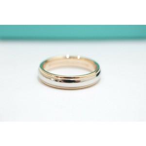 Tiffany & Co. Platinum & 18K Rose Gold Lucida 4mm Wedding Band Ring
