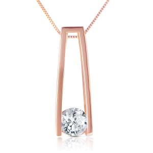 14K Solid Rose Gold Necklace withNatural 0.25 CTW Diamond