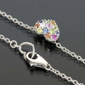 Ponte Vecchio 0.02ct Diamond 0.22ct Sapphire Heart Necklace