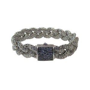 John Hardy Sterling Silver with Sapphire Braided Bracelet