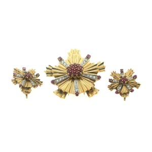 Vintage Tiffany & Co. 14k Yellow Gold Platinum Ruby Earrings and Brooch Set