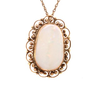 14k Yellow Gold and Opal Necklace