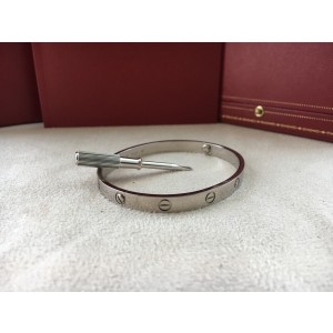 Cartier Love 18K White Gold New Screw System Bracelet Size 19