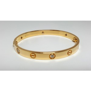 Cartier Love 18K Yellow Gold 6 Diamond Bracelet Size 17