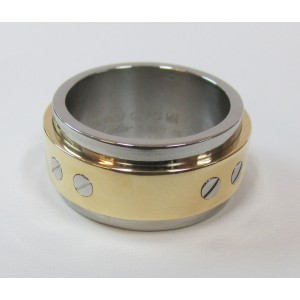 Cartier Santos 100 18K Yellow Gold Stainless Steel Ring Size 10.25