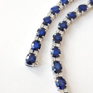 18k Gold Blue Sapphire and Diamond Necklace