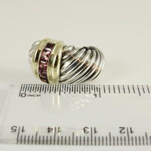 David Yurman Sterling Silver 14K Yellow Gold Large Rhodolite Garnet Shrimp Clip On Earrings