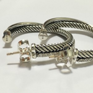 David Yurman Crossover Sterling Silver 0.49 Ct Diamond Hoop Earrings
