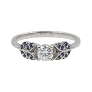14K White Gold with 0.41ct Round Cut Diamond and Sapphire Leaf Design Engagement Ring Size 6