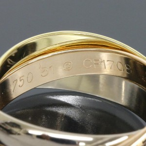 Cartier 18K Yellow White Pink Gold  Trinity Ring Size 6