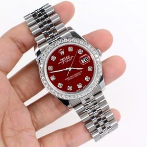 Rolex Datejust 116200 36mm 1.85ct Diamond Bezel/Imperial Red Diamond Dial Steel Watch