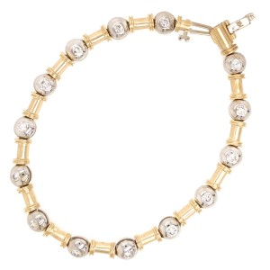 14k Two Tone Gold Diamond Bezel Bracelet