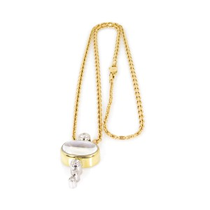 Estate 14K Yellow Gold Moonstone and Diamond Pendant Necklace