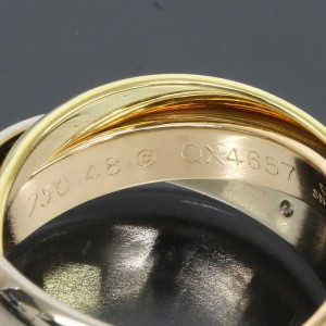 Cartier 18K Pink White And Yellow Gold Trinity With 5P Diamonds Ring