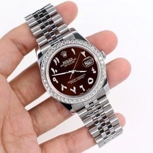 Rolex Datejust 116200 36mm 2ct Diamond Bezel/Chocolate Diamond Arabic Dial Steel Watch