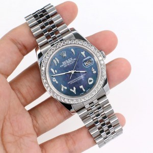 Rolex Datejust 116200 36mm 2ct Diamond Bezel/Black Pearl Diamond Arabic Dial Steel Watch