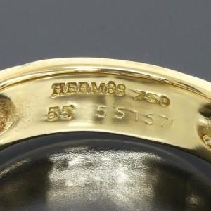 Hermes 18K Yellow Gold Graffiti H Band Ring Sz 7.25