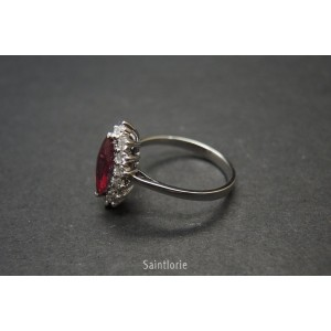 1.08ct Ruby & 0.42ct Diamond Engagement Ring Sz 6.75
