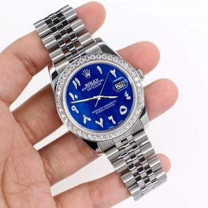Rolex Datejust 116200 36mm 2.0ct Diamond Bezel/Royal Blue MOP Diamond Arabic Dial Steel Watch