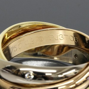 Cartier 18K Pink White And Yellow Gold Trinity 3 Bands 5P Diamonds Ring Size 5