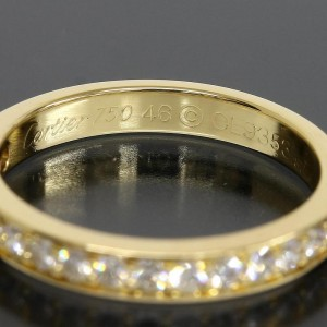 Cartier 18K Yellow Gold Half Eternity 17P Diamonds Ring Size 4