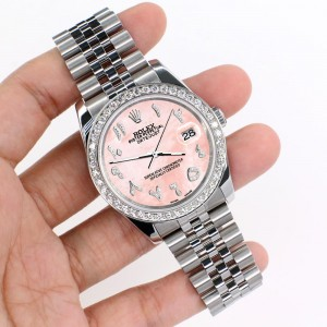 Rolex Datejust 116200 36mm 2.0ct Diamond Bezel/Royal Pink MOP Diamond Arabic Dial Steel Watch