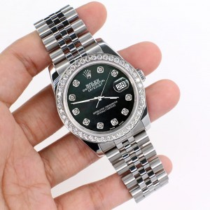 Rolex Datejust 116200 36mm 1.85ct Diamond Bezel/Black MOP Diamond Dial Steel Watch