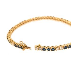 18K Yellow Gold Diamond and Sapphire Tennis Bracelet