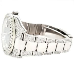 Rolex Datejust II 41mm Diamond Bezel/Lugs/Bracelet/Blue Flower Roman Dial Steel Watch 116300
