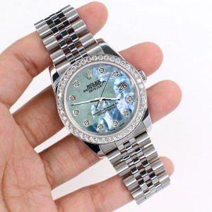 Rolex Datejust 116200 36mm 1.85ct Diamond Bezel/Tahitian Blue Diamond Dial Steel Watch