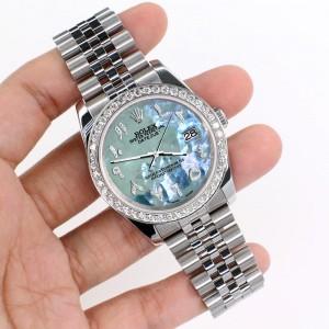 Rolex Datejust 116200 36mm 2.0ct Diamond Bezel/Tahitian Blue Diamond Arabic Dial Steel Watch