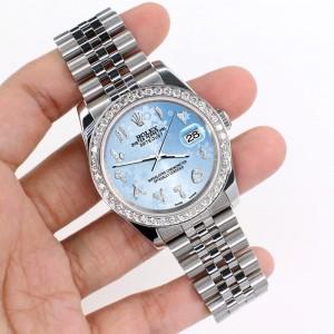 Rolex Datejust 116200 36mm 2ct Diamond Bezel/Blue Flower Diamond Arabic Dial Steel Watch