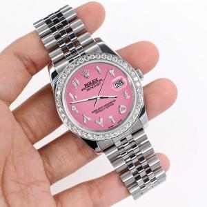 Rolex Datejust 116200 36mm 2.0ct Diamond Bezel/Hot Pink Diamond Arabic Dial Steel Watch