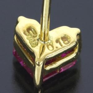 Star 18K Yellow Gold Heart Ruby Earrings
