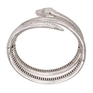 18k White Gold Matte Snake Cuff Diamond Bracelet