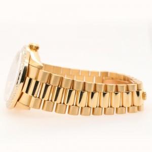 Rolex President Datejust 31mm Diamond Bezel/Ice Blue Diamond Roman Dial Yellow Gold Watch