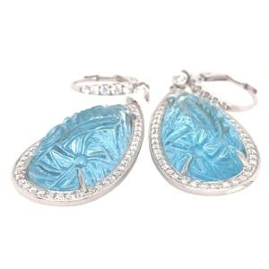 18k White Gold Carved Topaz and Diamond Earrings