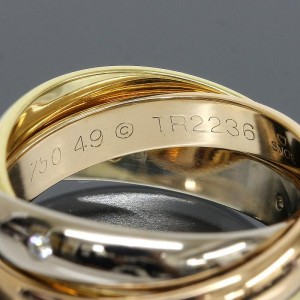 Cartier 18K Yellow White And Pink Gold Trinity 3 Bands 5P Diamonds Ring Size 5