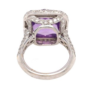 18k White Gold Amethyst and Diamond Ring