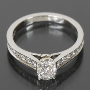 Cartier PT950 Platinium Solitaire Diamond Ring 5.5