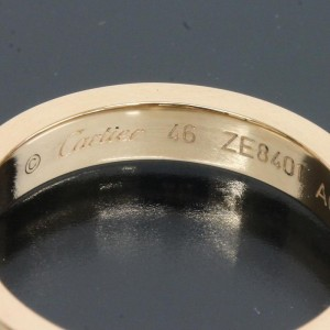 Cartier 18K Rose Gold Diamond Engraved Band Ring Size 4