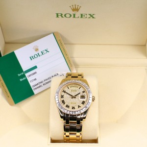 Rolex President Day-Date 39mm Masterpiece Yellow Gold Watch with Diamond-Paved Dial/Box and Papers/18958BR