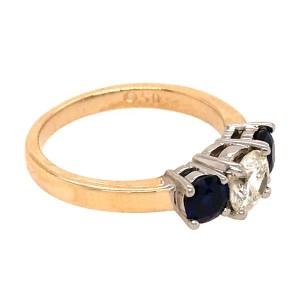 3 Stone Diamond and Sapphire Engagement Ring.