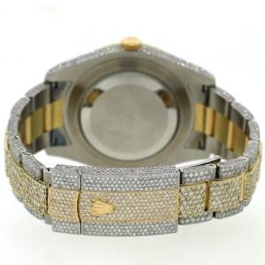 Rolex Datejust II 41mm 2-Tone Pave Diamond Watch w/25.9ct Diamond Bezel/Lugs/Bracelet/Roman Dial