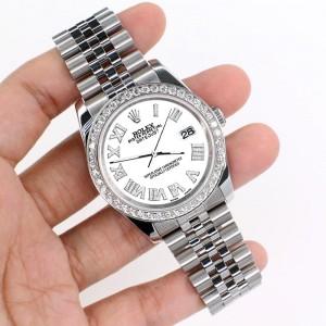 Rolex Datejust 116200 36mm 2.0ct Diamond Bezel/White Diamond Roman Dial Steel Watch