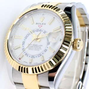 Rolex Sky-Dweller 42MM 2-Tone Yellow Gold/Steel Watch White Index Dial